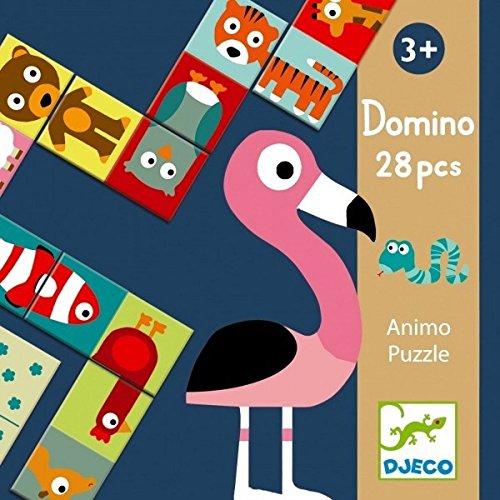 DJECO- Juegos familiaresDominóDJECOEducativos Domino Animo-Puzzle, (30)