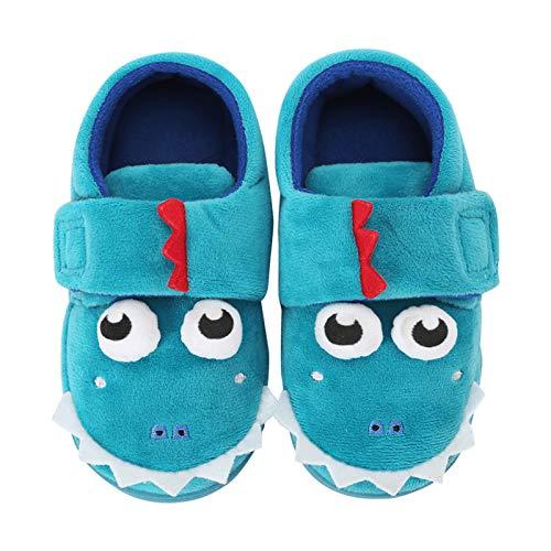 Pantuflas para niños pequeños, para el hogar, zapatos de invierno de felpa, lindas novedades, animales de dinosaurio, cálidos y suaves zapatos de casa para bebés y niñas, color Verde, talla 29 EU