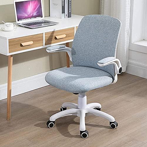 Home Büro Schreibtischstühle Bürostuhl Einstellbare Höhe mit Lendenwirbelstütze Flip Up Armlehnen Mid Back Schreibtischstuhl Swivel Leinen Computerstuhl für Jungen und Mädchen studieren Home Schr