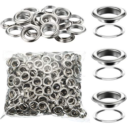 500 Pieces Grommet and 500 Pieces Washer Grommet Kit Nickel Finish Grommet Eyelet for Clothes Fabric Leather Tag Bag (1/2 Inch)