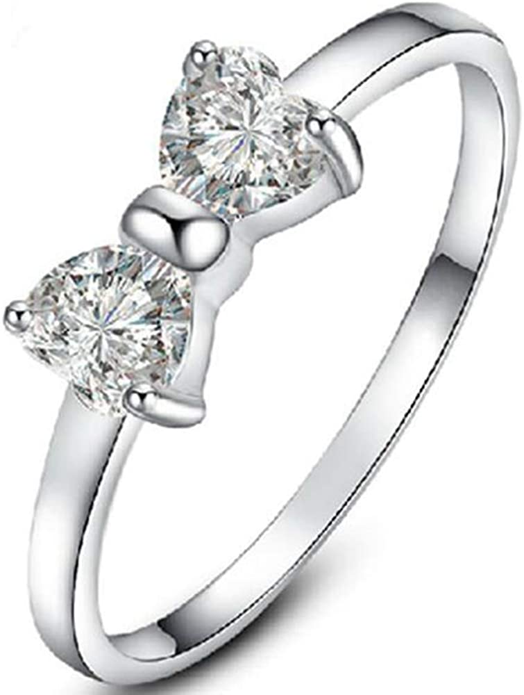 Jude Jewelers Platinum Plated Heart Stone Bow Tie Shape Wedding Promise Statement Ring