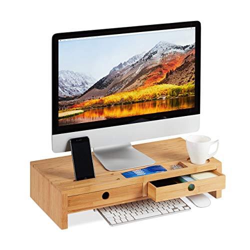 Relaxdays Monitorständer, aus Bambus, Bildschirmerhöhung mit 2 Schubladen & Ablagen, Schreibtisch, HBT 12x56x27cm, Natur