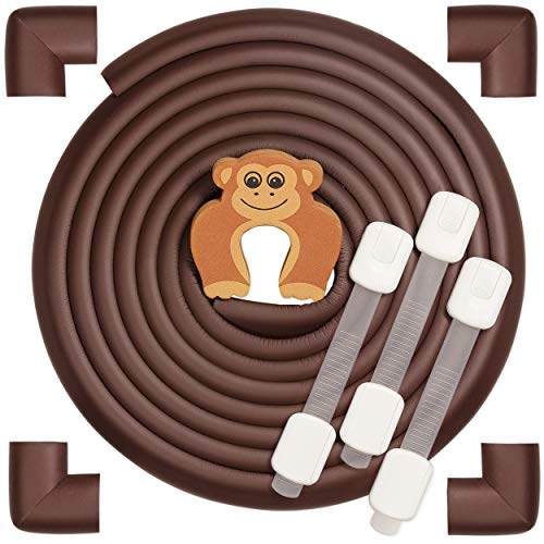 Baby Safety Edge Guards Set, Soft Furniture Bumper, Child Proof Table Corner Protector Protectors, Rubber Protector Strips (18Ft + 3 Child Drawer Locks) Brown