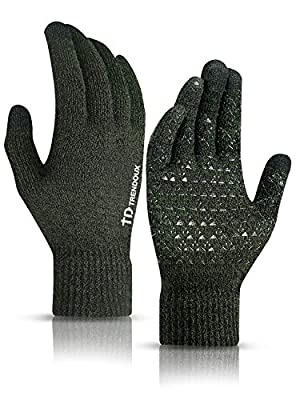 TRENDOUX Winter Gloves for Men, Knit Glove for Women Cold Weather with Touch Screen Fingers - Non-Slip Grip - Thermal Liner - Elastic Cuff - Stretchy Material - Driving Running - Midnight Green - XL
