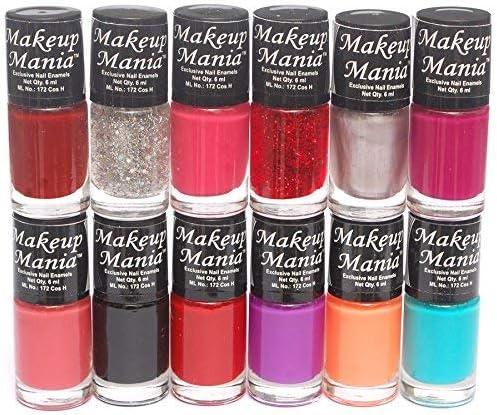 Makeup Mania Nail Polish Set Combo (Red, Orange, Pink, Glitter, Black, Purple, Pack of 12) product image