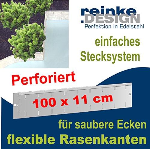 Flexible und perforierte Rasenkanten aus Edelstahl V2A (11x100cm flexibel + perforiert)
