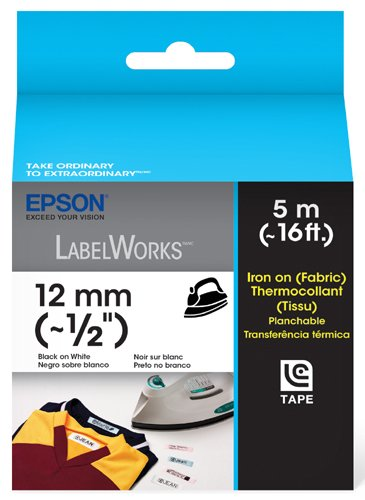 Epson LabelWorks Iron on (Fabric) LC Tape Cartridge ~1/2-Inch Black on White (LC-4WBQ5)