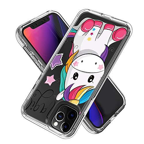 Hülle für iPhone 11 Pro (5.8inch),Durchsichtig Handyhülle Hybrid Rundumschutz (Hartplastik + Weich TPU Silikon Bumper) Ultradünne Stoßfest Schutzhülle Transparent Cover Case (Einhorn)
