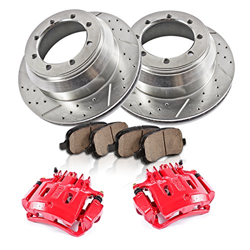 REAR 2 Calipers 300 mm Rotors Quiet Low Dust 4 2 Powder Coated Red Ceramic Pads Performance Kit