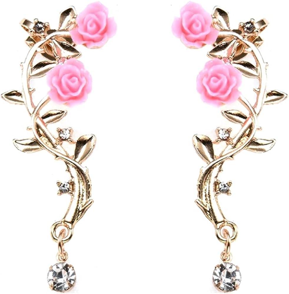 Fees free Retro Crystal Rose Popular standard Flower Climbers Spark Earrings Crawler Jacket