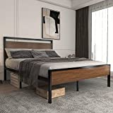 Allewie Heavy Duty Queen Size Platform Bed Frame with Wood Headboard and Footboard, 12 Metal Slats Support, No Box Spring Needed, Non-Slip /Noise Free, Easy Assembly, Walnut