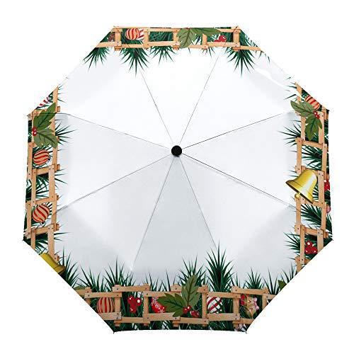 Paraguas plegable de viaje, diseño de hojas de pino, luces de Navidad,...