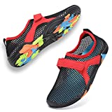 CIOR Boys & Girls Water Shoes Quick Drying Sports Aqua Athletic Sneakers Lightweight Sport Shoes(Toddler/Little Kid/Big Kid) U1ELJSX006-Blk.red-36