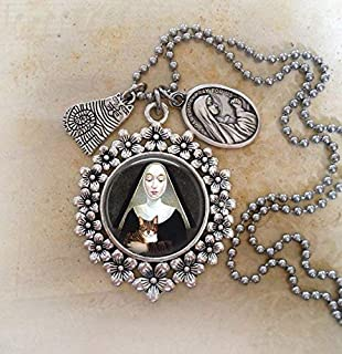 Saint Gertrude Of Nivelles, Patron Saint of Cats, Divine Messenger Help. Choose a Necklace or Backpack Clip. Bless and Protect My Cat.