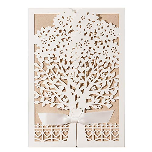 WISHMADE 5 x 7.3 inch 50PCS Blank White Laser Cut Wedding Invitations Kit with Wishing Tree Heart Invites Pocket and Kraft Paper Invitation for Quinceanera Wedding Invite