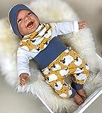Baby Set 56 62 68 74 Hose, Mütze und Dreieckstuch, Erstausstattung, new born set, junge Pumphose Schaf gelb