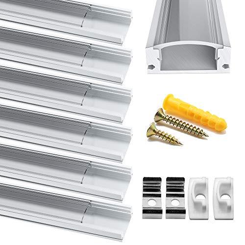 Chesbung [6Pack,1M/3.3ft] Profilo in Alluminio a Forma di U per Striscia a led, con Cover e Tappi di Chiusura laterali. Canalina di Alluminio con Cover, Montaggio Universale