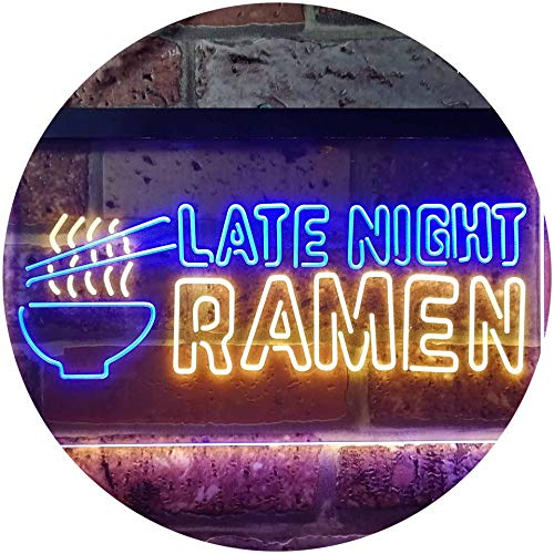ADVPRO Late Night Ramen Japanese Food Dual Color LED Neon Sign Blue & Yellow 12″ x 8.5″ st6s32-i3305-by
