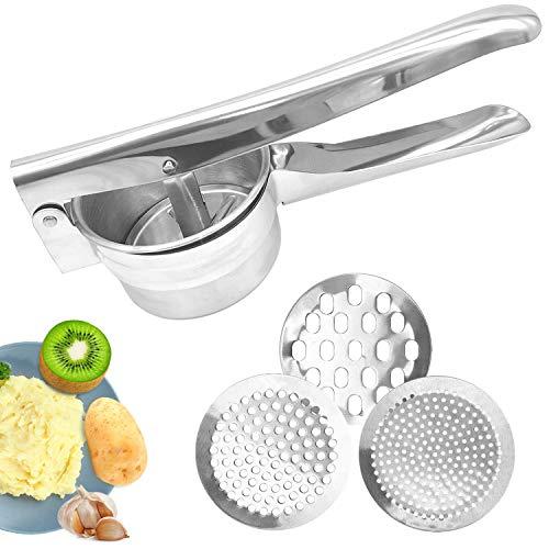 ZJW Kartoffelpresse aus Edelstahl mit 3 Lochscheiben, kreieren und genießen Sie leckeres Essen