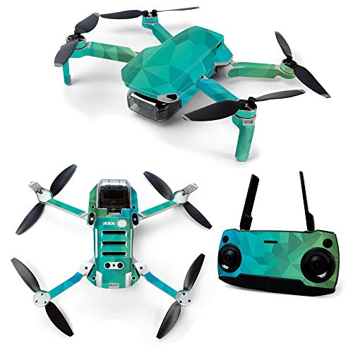 MightySkins Skin for DJI Mavic Mini Portable Drone Quadcopter - Blue Green Polygon | Protective, Durable, and Unique Vinyl Decal wrap cover | Easy To Apply, Remove, and Change Styles | Made in the USA
