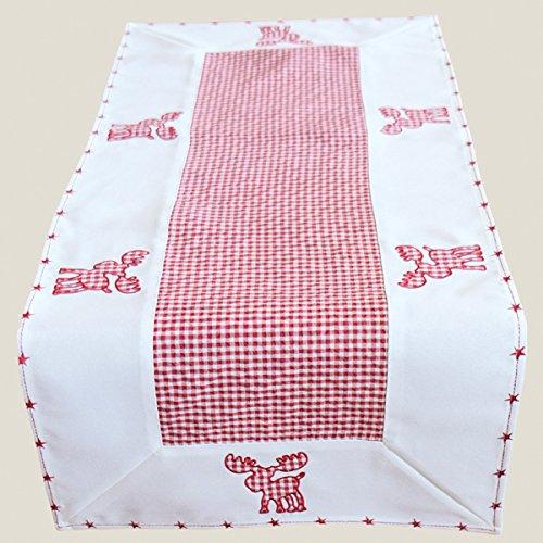 Heimtexland Typ292 Chemin de table de Noël en vichy à carreaux Rouge/blanc avec joli motif élan brodé et bordure étoilée