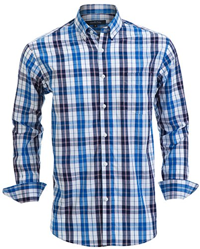 Double Pump Mens Button Down Shirts 100% Cotton Long Sleeve Shirts Regular Fit (SL01A,XXL)