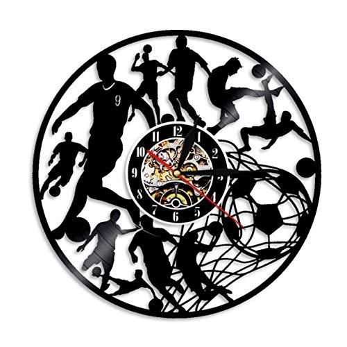 LWXJK Fútbol Reloj De Pared De Los Jugadores De Fútbol Kick Ball Neto Objetivo Futball Campo De Pelota De Deportes De Equipo De La Escuela De Niños De La Escuela De Juego De Discos De Vinilo Reloj
