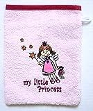 S.B.J - Sportland Frottee Waschlappen/Waschhandschuh, Farbe rosa, Motiv kleine Prinzessin, Größe ca. 15x20 cm
