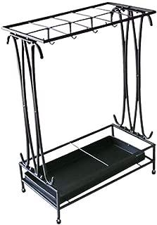 Yxsd Umbrella Stand Modern Black Metal Holder Storage Rack with Removable Base Drip Tray, 24 X 44 X 60cm