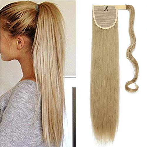 Ponytail Extensions Pferdeschwanz Haarverlängerung Haarteil Clip in Zopf Extensions Synthetische Haare wie Echthaar Glatt 26