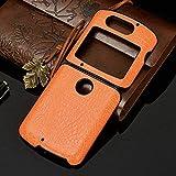 New Motorola Razr 2020 Case Razr 5G Folding Slim Crocodile PU Leather Shockproof New Case Cover (Orange)