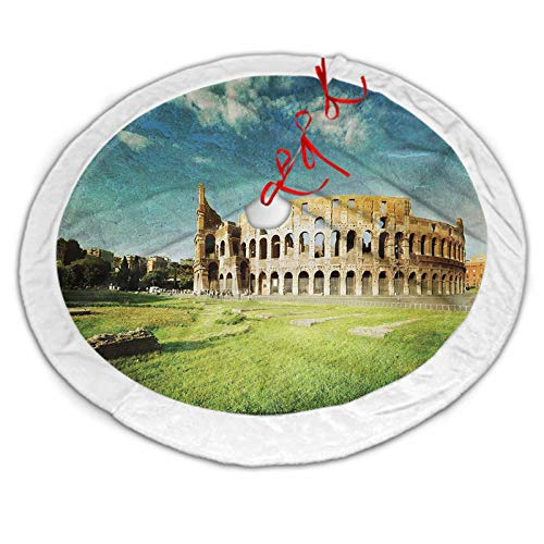 Vintage Luxury Tree Skirt Sunset at Historical Colosseum in Rome Italian Landmark European Artwork Scenery for Xmas Party Decoration Green Blue 36 Inch