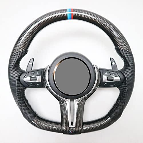 Volante de fibra de carbono Accesorios de rendimiento Personalización Apto para Benz Clase C vieja modificada Clase E Clase A CLA Clase GLC AMG Volante de automóvil,Round