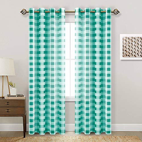 Hiasan Buffalo Plaid Sheer Curtains - Light Filtering Voile Checkered Curtains for Living Room and Bedroom, 52 X 96 Inches Long, Set of 2 Window Curtain Panels, Teal and White