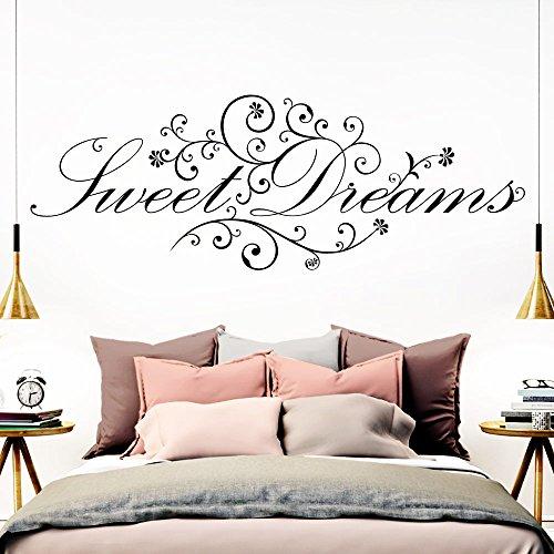Grandora Wandtattoo Spruch Sweet Dreams I schwarz (BxH) 110 x 41 cm I Schlafzimmer süße Träume selbstklebend Sticker Aufkleber Wandaufkleber Wandsticker W718