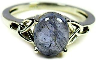 55Carat Natural Iolite Silver Ring Blue Oval Gemstone Chakra Healing Handmade Size 5,6,7,8,9,10,11,12