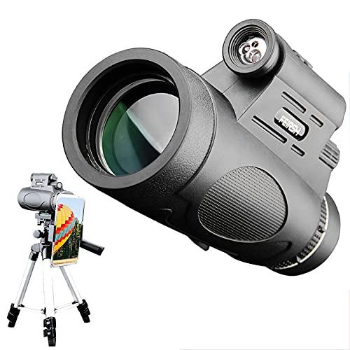 CXDC Catalejo,Monocular,12X50 Telescopio Monocular HD de Largo Alcance con Luces con Trípode y Soporte de Teléfono,para observación de Aves/Senderismo/Caza/Camping/Regalo