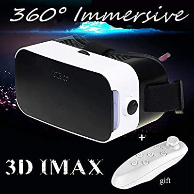 "Virtual Reality Headset, 3D VR Glasses with Remote Controller[Gift] 3D Movies Video Games Viewer for 4.0-6.0"" iPhone & Android Like iPhone X 8 7 6 Plus Samsung S8 S7 S6 Edge etc, White VR Goggles"