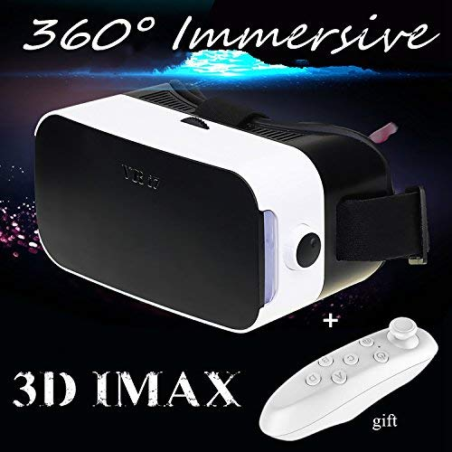 """Virtual Reality Headset, 3D VR Glasses with Remote Controller[Gift] 3D Movies Video Games Viewer for 4.0-6.0"""" iPhone & Android Like iPhone X 8 7 6 Plus Samsung S8 S7 S6 Edge etc, White VR Goggles"""