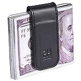 Slim Magnetic Money Clip Genuine Leather Business Card Holder for Men, Black