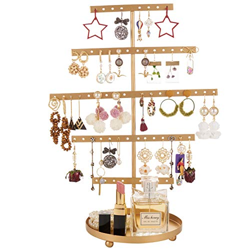 QILICHZ Earring Stand Gold Earring Holder 5 Tier Earring Display Rack Jewelry Stand Decorative Jewelry Holder Display with Wooden Tray/Dish for Earrings Necklace Bracelet Rings 69 Holes 5-Tier (Gold)