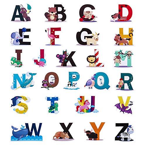 SUSSURRO Wandtattoo Alphabet ABC Wandsticker Wandaufkleber Tiere Buchstaben Wanddeko für Wohnzimmer...