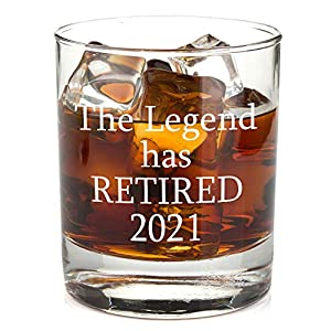 MAKES A MEMORABLE GIFT: This Retirement Whiskey Glass is the perfect gift for men. It displays a unique funny saying in vibrant white ink and is truly a permanent imprint that will never fade or lose its glow. BEAUTIFUL CLASSY DESIGN: This lowball 11...