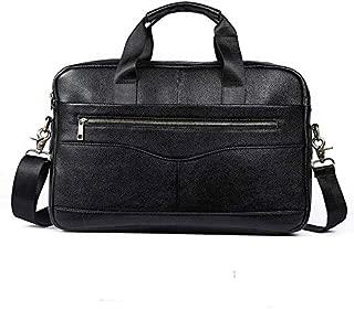 Men's Genuine Leather Bag Leisure Business Briefcase Cross Section Shoulder Messenger Bag Handbag (Color : Black)