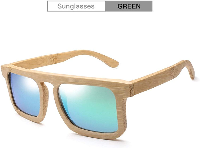 HD Handmade Bamboo Sunglasses Fashion Personality Bamboo Box Sunglasses for Unisex UV400 (color   Green)
