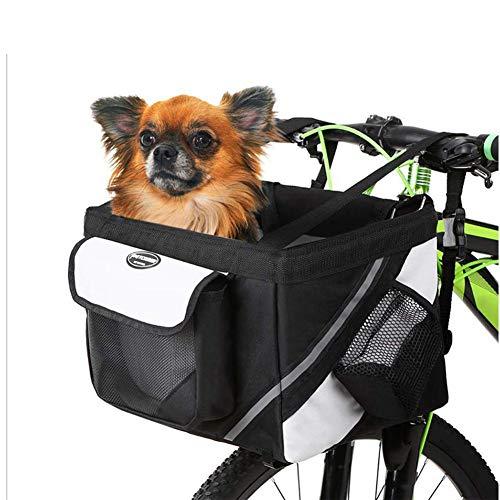 PIONIN Haustier Fahrradtasche, Fahrradkorb für Hunde,Hundekorb Fahrrad Vorne Faltbar und Abnehmbar,für kleine Haustiere, Maximale Belastung für 6 KG