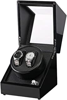Bloodyrippa Dual Automatic Watch Winder Box, Solid Hard Wood Construction, Black Piano Coating, Carbon Fiber + PU Leather Interior, 4 Rotation Modes, Powered by AC/DC or D Batteries