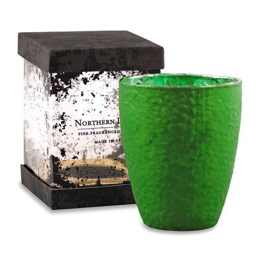Glamoureuze geurkaars in grote sierlijke mat smaragdgroene glazen pot - spar/bos Aroma