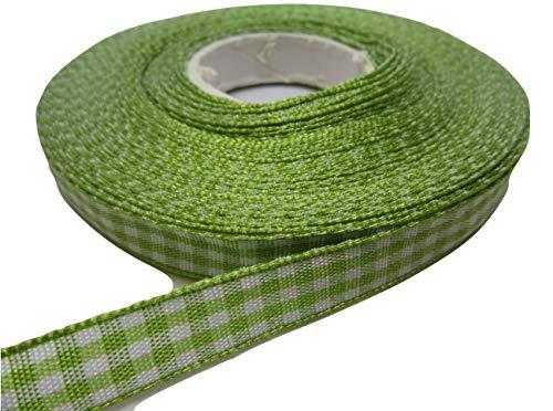 Beautiful Ribbon band, 2 m x 10 mm, vichy-ruit, lichtgroen, dubbelzijdig, Gingham 10 mm, 1 cm