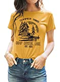 Summer 1980 Camp Crystal Lake Women T-Shirt Vintage Camper Tees Letter Print Short Sleeve Tops (Yellow, Small)